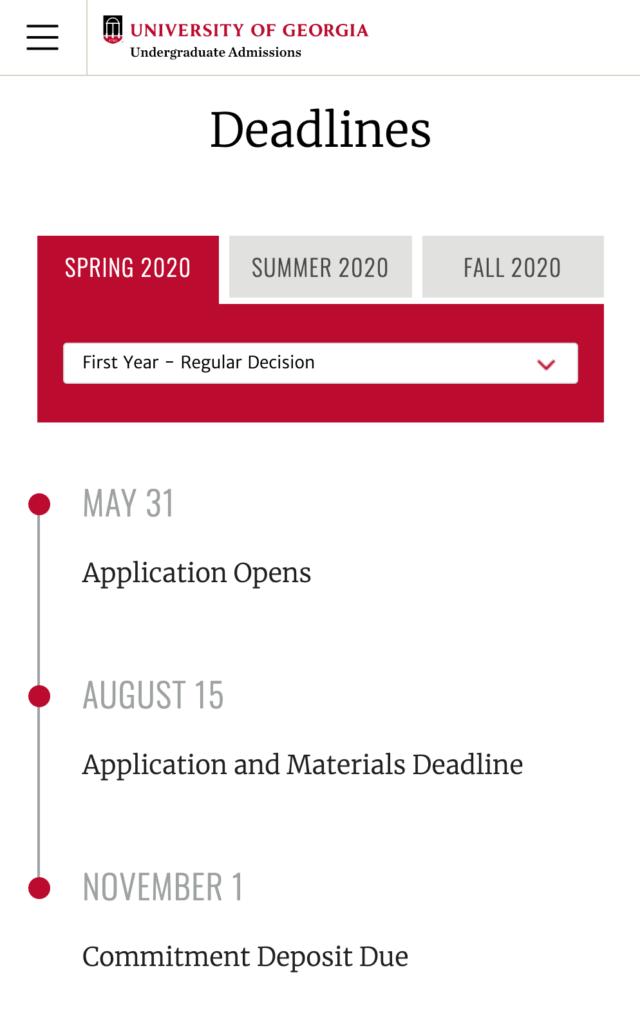 UGA Admissions Website Deadlines